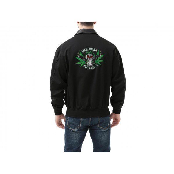 Marijuana Outlaws Men's A-2 Leather Trim Bomber Jacket